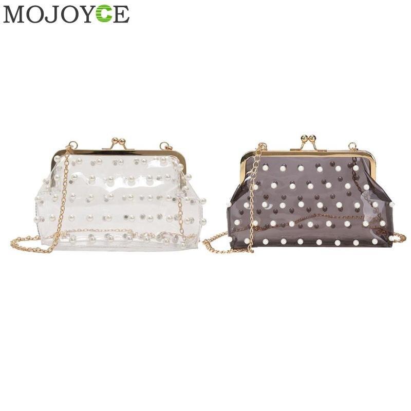 2018 модные жемчужные прозрачный ПВХ Для женщин сумка Голограмма лазерная красочные сумки девушки небольшой цепи Crossbody сцепления сумки