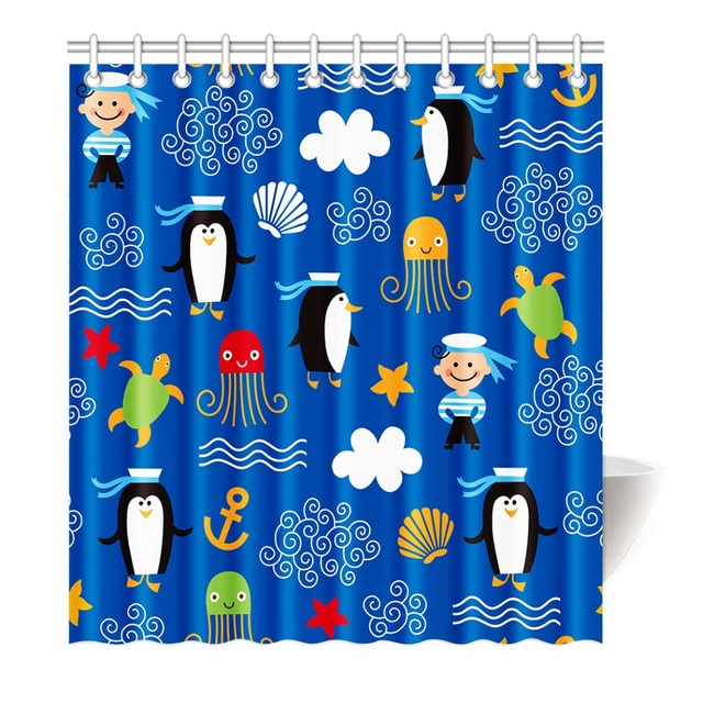 Shower Curtain Fun Kids Octopus Fish Whale Sea Creatures Design ...