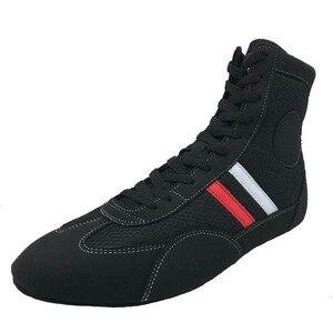 SINOBUDO-zapatos de SAMBO de lucha profesional, zapatillas de deporte de cuero de lucha de boxeo de fondo suave, botas deportivas de entrenamiento a juego S004