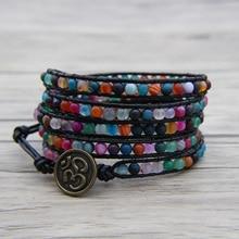 Bead leather wrap bracelet Rainbow BOHO bead wrap bracelet 4mm bead bracelet OM Charm Birthday Gift Matt beads Jewelry цена и фото