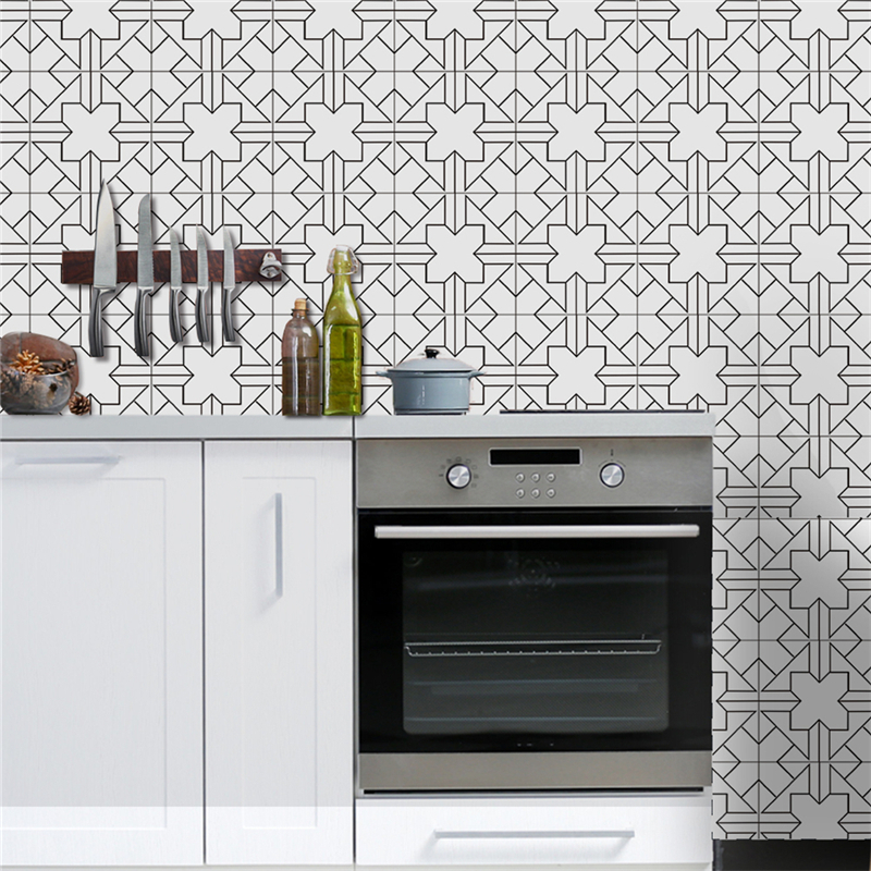 0.2x5m Waterproof Balck-White Wall Tiles Stickers Waist Line Kitchen Wall Sticker PVC Adhesive Bathroom Toilet Floor Wallpaper