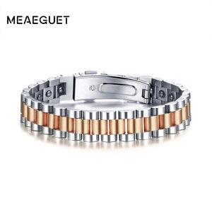 Image 3 - Montres marques soins de santé hématite énergie puissance mâle décontracté és Hombre acier inoxydable hommes Bracelet