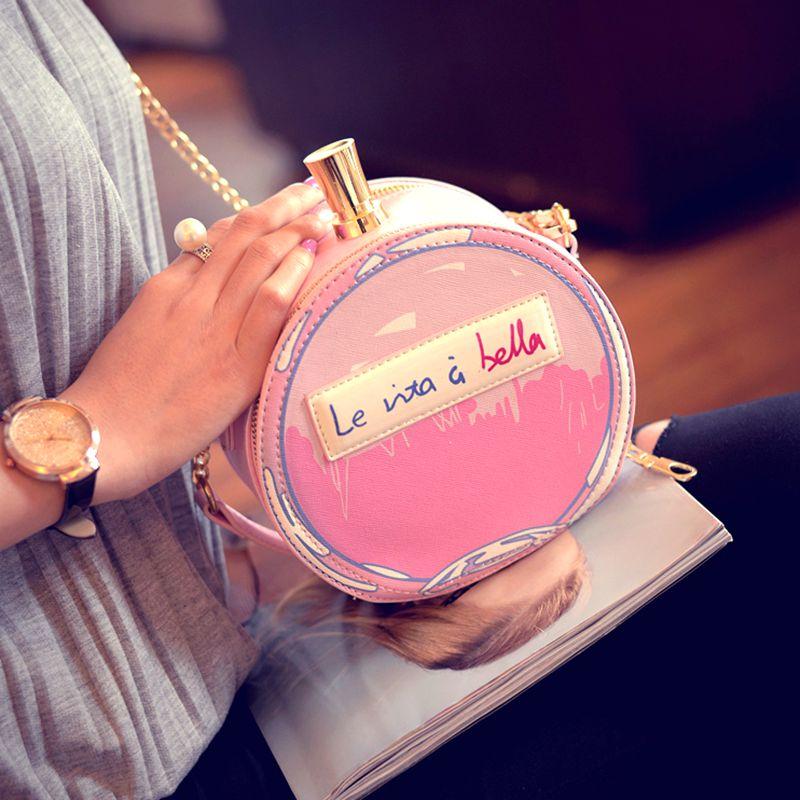 Fashion perfume bottle small round package 2017 women's handbag mini chain print