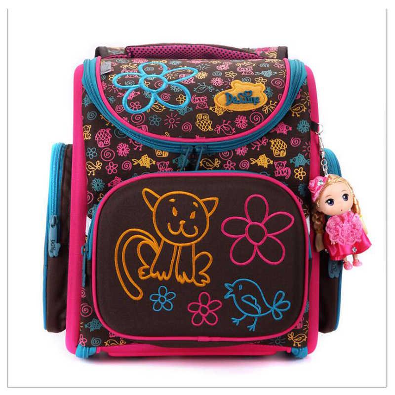 Delune новая ортопедическая Европейская детская школьная сумка для девочек с милым рисунком кота Mochila Infantil рюкзак большой емкости