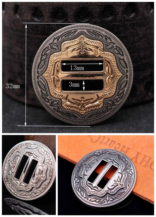 6X Heavy Western Cowboy Antique Sliver Saddles Tack Headstall Bridle Leathercraft Slotted Belt Concho Hardware 1-1/4