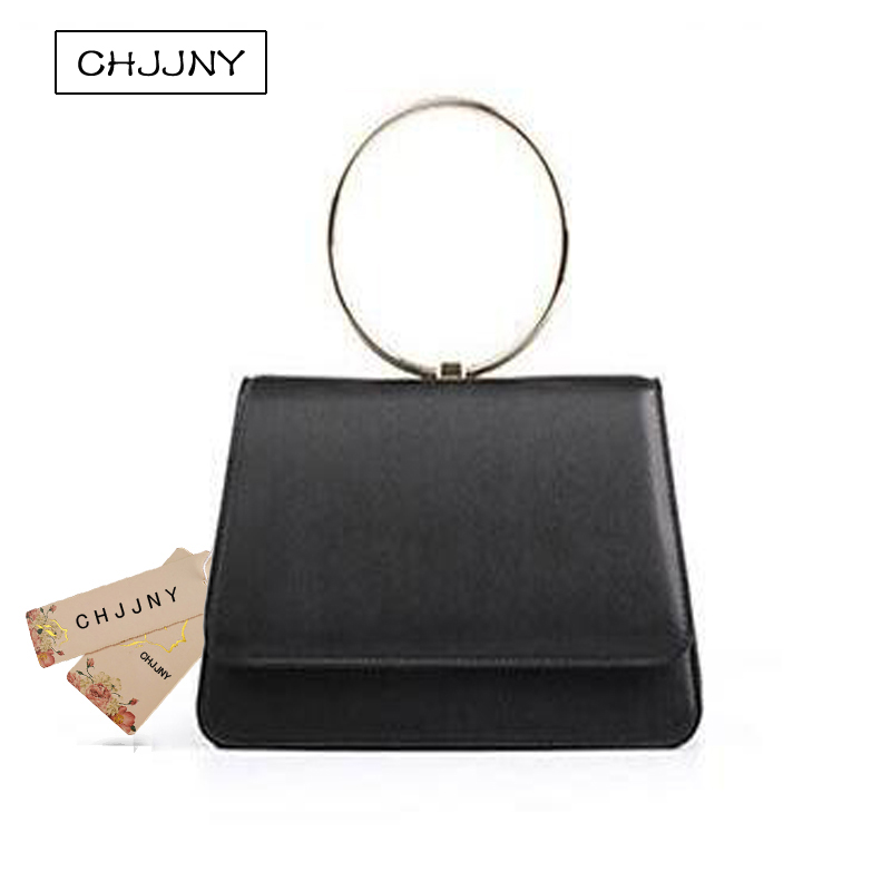 ФОТО CHJJNY 2017 Korean newest simple style genuine leather customized vintage women metal ring hand bags