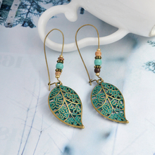 Leaves drop Earring Bohemian Vintage gold green Hollow long for Women accessories 2019 Party ethnic dangle Earrings Boho Jewelry 5 colors vintage drip glaze earring bohemian boho ethnic dangle drop earrings for women s 2020 fashion party jewelry accessories