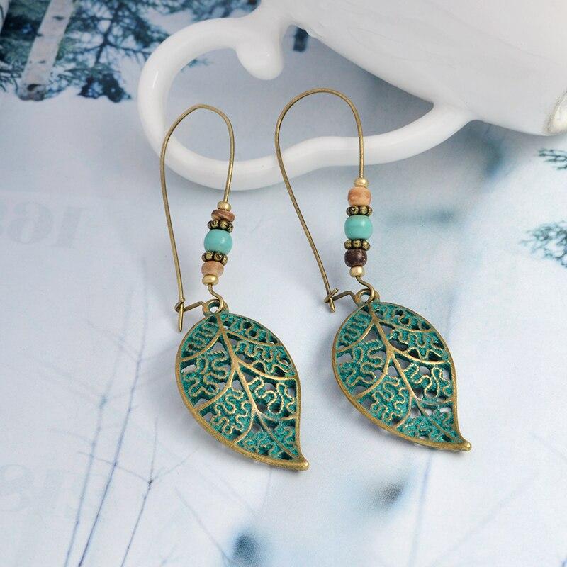 Leaves drop Earring Bohemian Vintage gold green Hollow long for Women accessories 2019 Party ethnic dangle Earrings Boho Jewelry