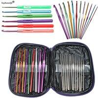 1set 22Pcs Multicolour Aluminum Crochet Hook Knitting Kit Needles Handle Knit Set Weave Craft Yarn Stitches
