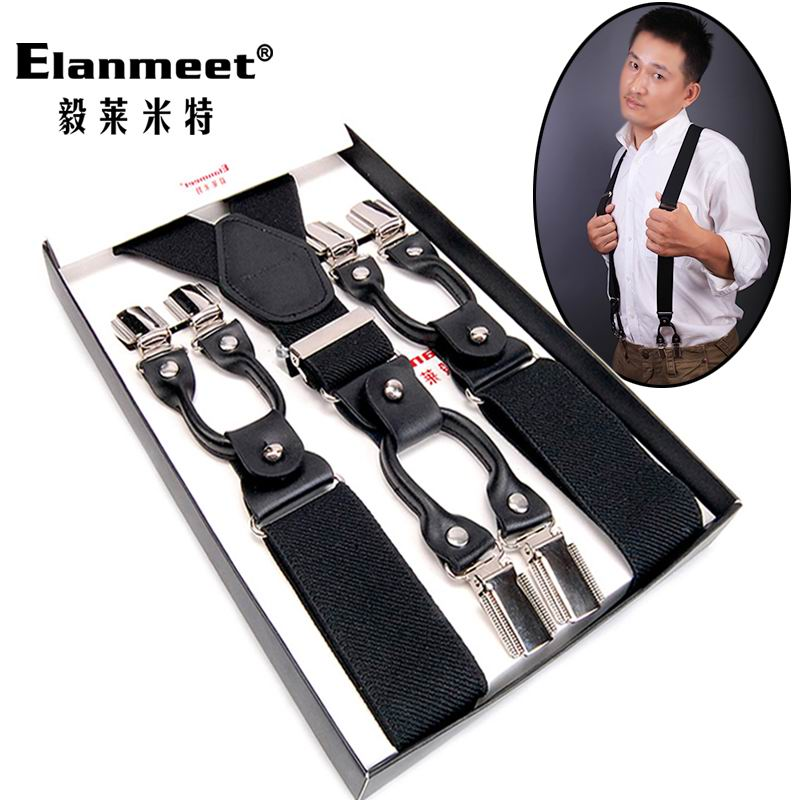 2015 Solid Color Male Suspenders 6 Clip All-match Adult Suit Pants Suspenders Cowhide Male Spaghetti Strap Shoulder Strap