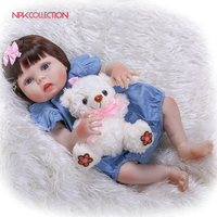 NPKCOLLECTION 22 55cm Baby Girl Reborn Dolls Kids Toy Full Silicone Vinyl Real Life Bebe Reborn Alive Doll Handmade Bonecas