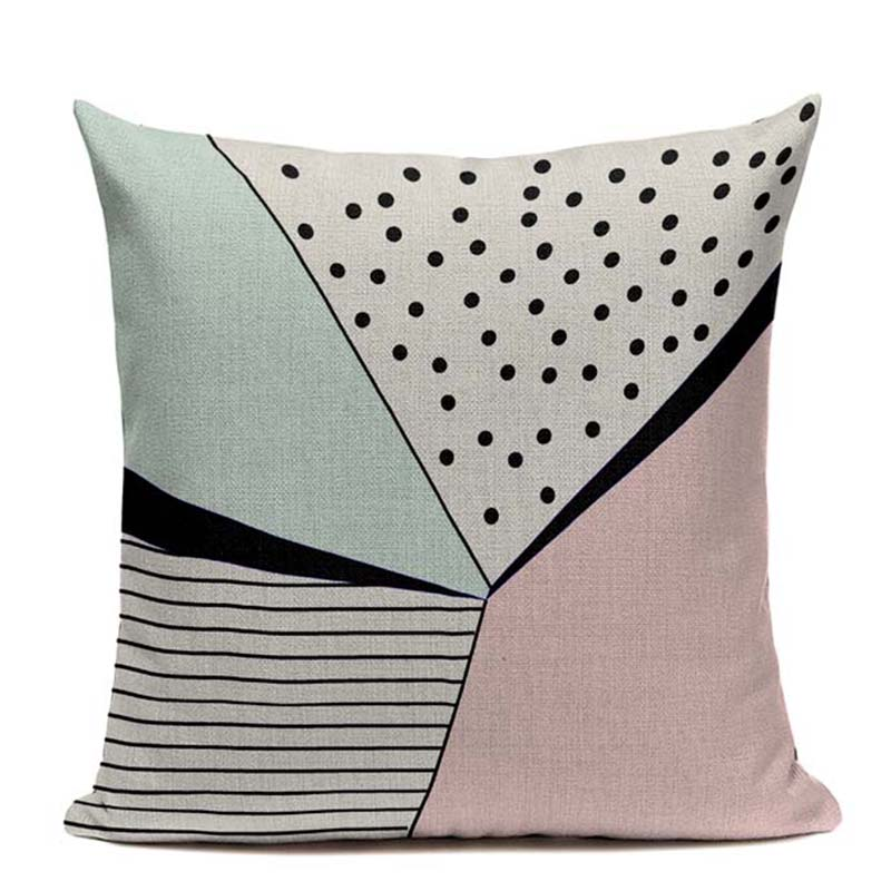 Wholesale Nordic Pillow Cushion Cover Pink Blue Deer Cat Linen Cotton Home Decor Throw Pillows Decorative Geometric Pillowcase