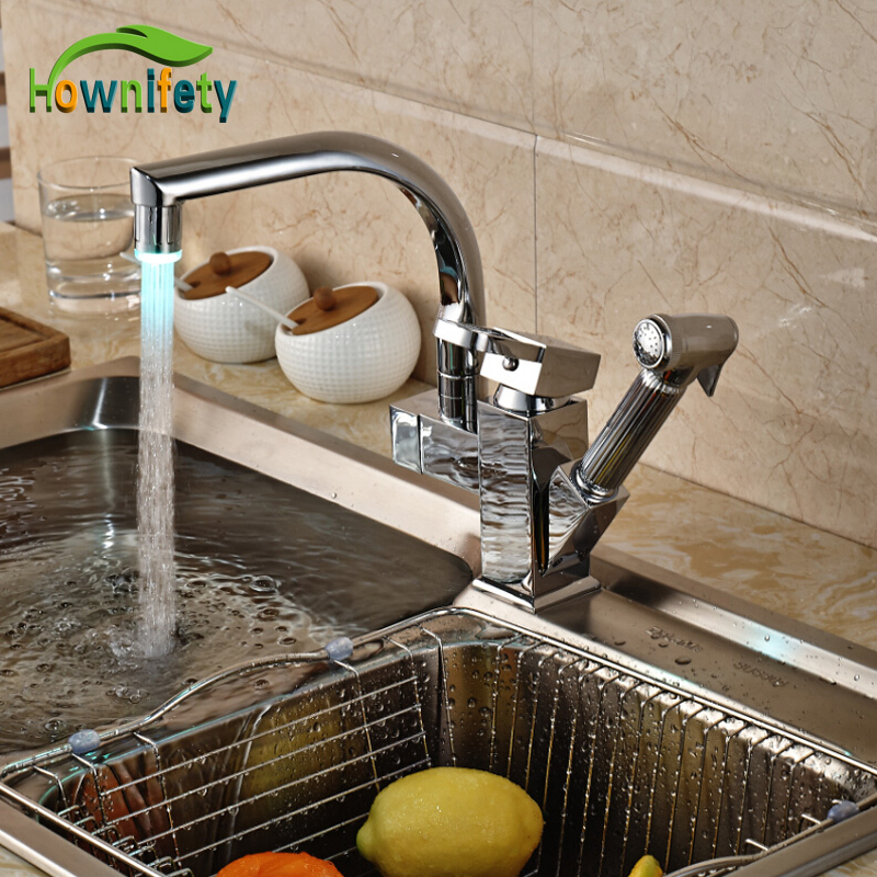 Polished Chrome kitchen Tap 360 Degree Swivel LED Color Changing Kitchen Faucet Pull Out Sprayer Basin Mixer Faucet newly arrived pull out kitchen faucet gold sink mixer tap 360 degree rotation torneira cozinha mixer taps kitchen tap