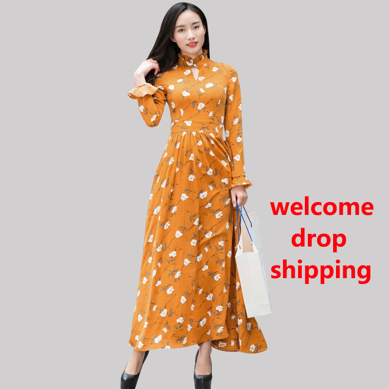 DF Ramadan Chiffon Spring Summer Long Dress Stand Collar Muslim Dress Beach Party Night Dress Evening Maxi Clothing 6723