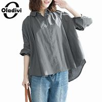 Oladivi Plus Size Women Casual Shirt 2019 Spring Long Sleeve Cotton Linen Blouse Shirts Female Top Tunics Ladies Blusas 3 Colors
