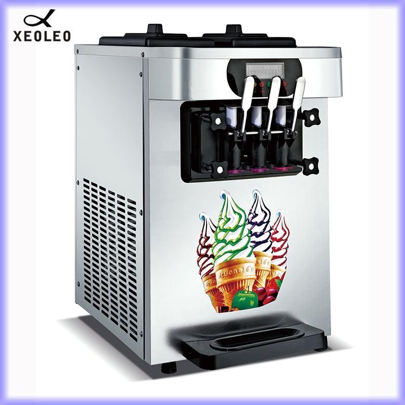Xeoleo comercial máquina de sorvete macio 3 sabores 1900 w 18-22l/h máquina de iogurte de aço inoxidável refrigerar de ar
