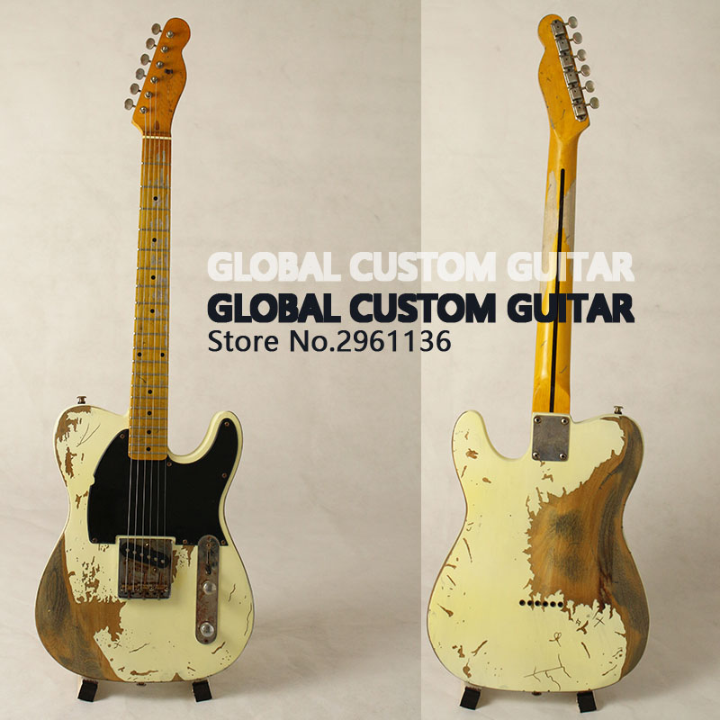 все цены на  New Handwork Aged Relic Electric Guitar with Ash Body in Yellow Color, Aged guitar parts, Real photo showing,HOT! Free shipping  онлайн