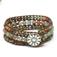 Ethnic Boho Multilayer Bracelet Leather 3 Strands Bead Wrap Bracelet Women Natural Semi Precious Stones Bracelet Dropshipping