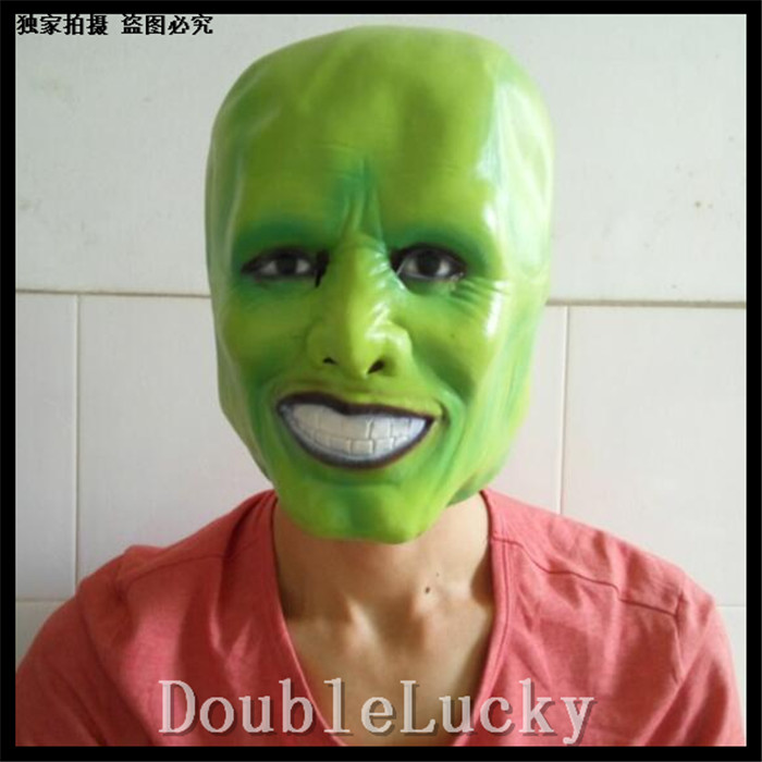 Free shipping Hot Sale Halloween Party Cosplay Latex Classic MovieThe Mask Jim Carrey Mask Cosplay Helmet Green Movies Mask image
