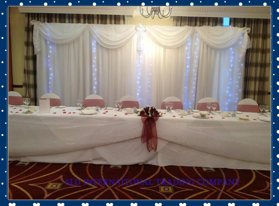 3m x 6m White Wedding Backdrop Curtain With Swag Wedding Drapes ...