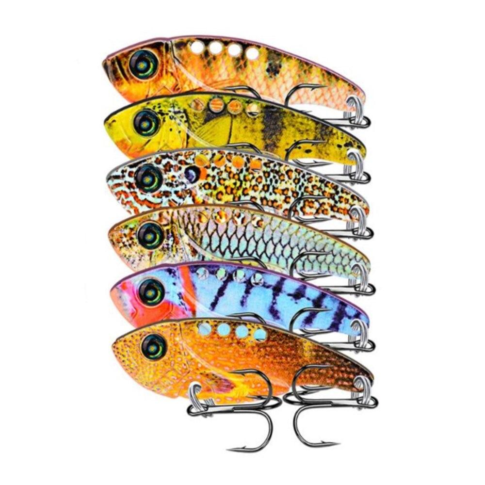Spor ve Eğlence'ten Balıkçılık Yemleri'de 6 adet Metal VIB Lures 5.4cm 11g vivid Titreşim kaşık yem Balıkçılık bait Bas Yapay Sert Yem Cicada cazibesi VIBe Yemler 3D Gözler title=