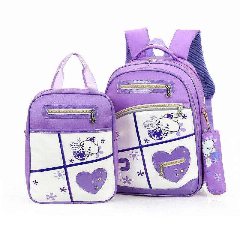 Комплект из 3 предметов Детский мультфильм школьные сумки для девочек-подростков Модные высокой емкости Школьные Рюкзаки Mochilas Escolar Infantil Menina