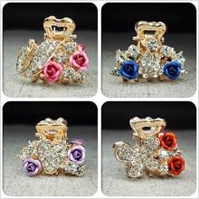 1PC Hair Ornaments Rhinestone Claw hair clip Headwear hair Accessories Crystal hair clip rose Jewelry Crab