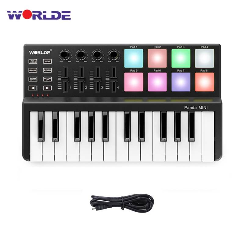 WORLDE Panda MIDI Keyboard 25 Keys Mini Piano Ultra Portable USB Keyboard With Drum Pad MIDI Controller Professional