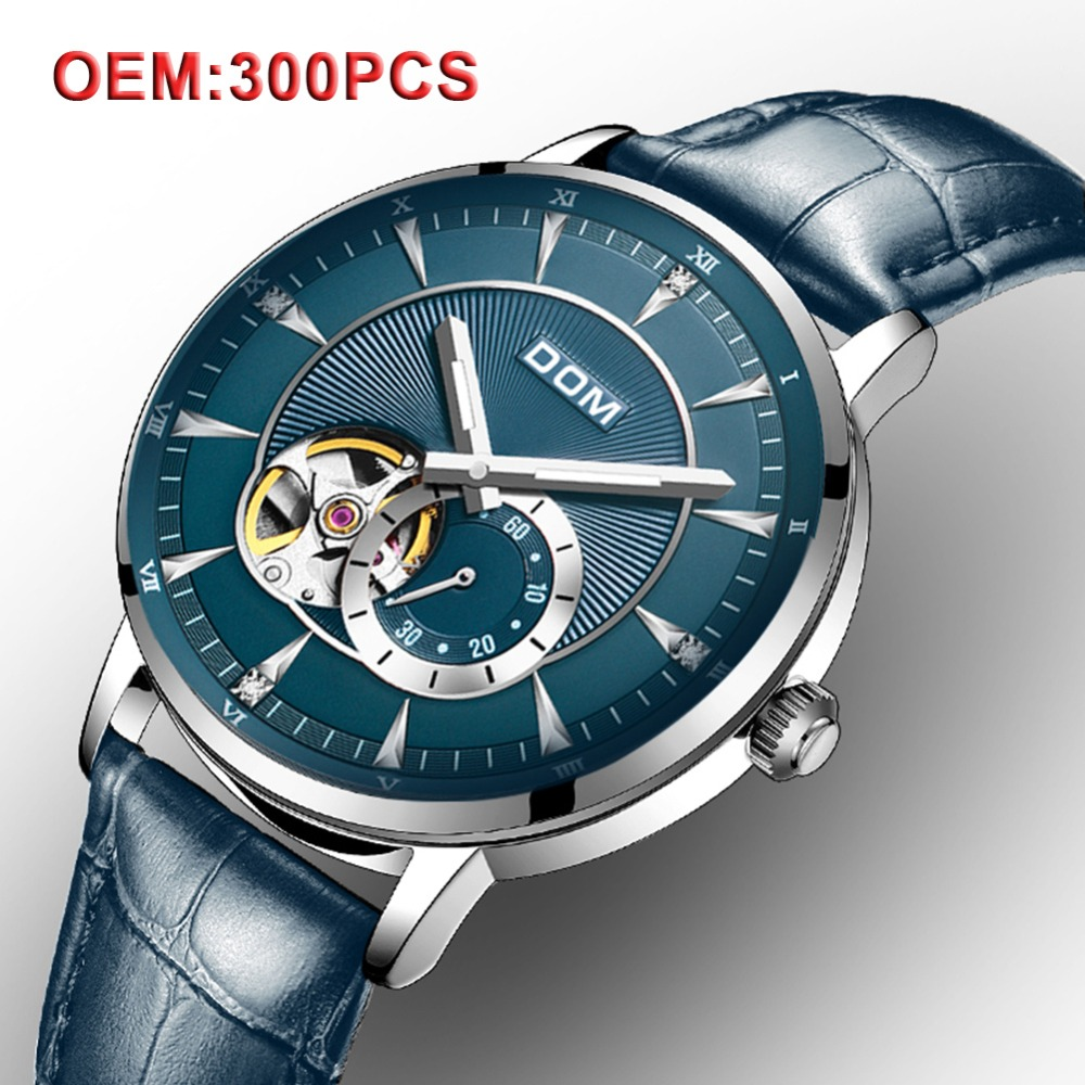 DOM Mechanical Men Wrist Watches Customized Your Brand Automatic Skeleton Vintage Watch Men Fashion Clock Waterproof Watch