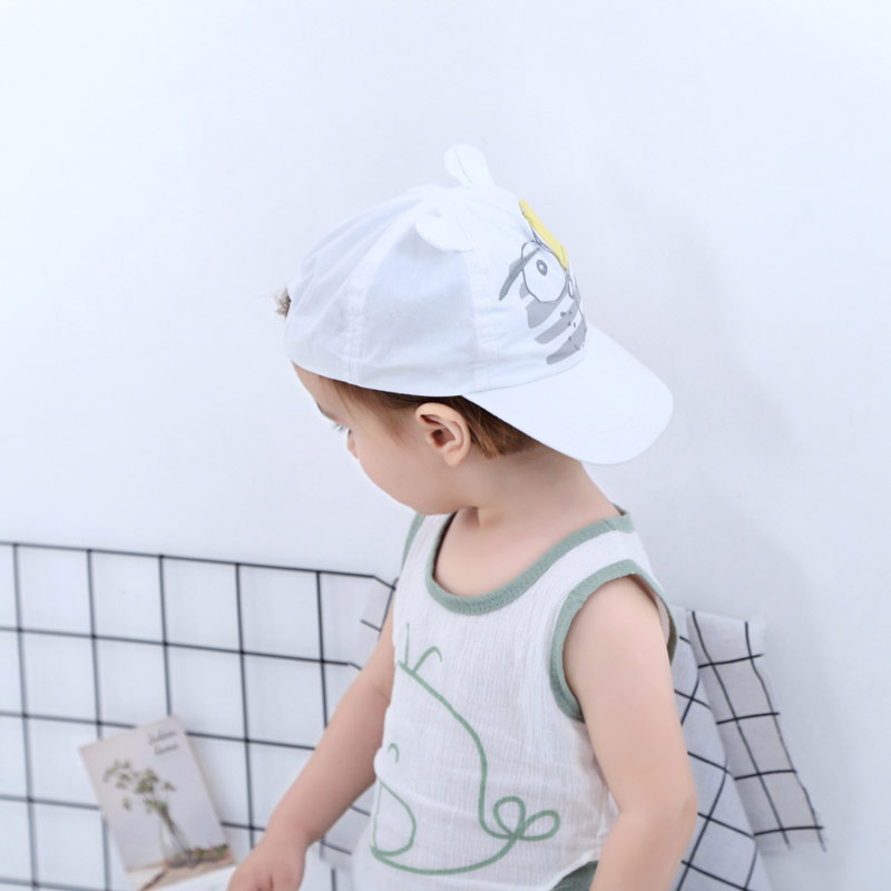 White Baby Baseball Hat Blindfolded Tiger Toddler Kids Boys Girls Sun Protection Cap with Wide Brim Duck Caps Elastic Band Adjustable Size (5)