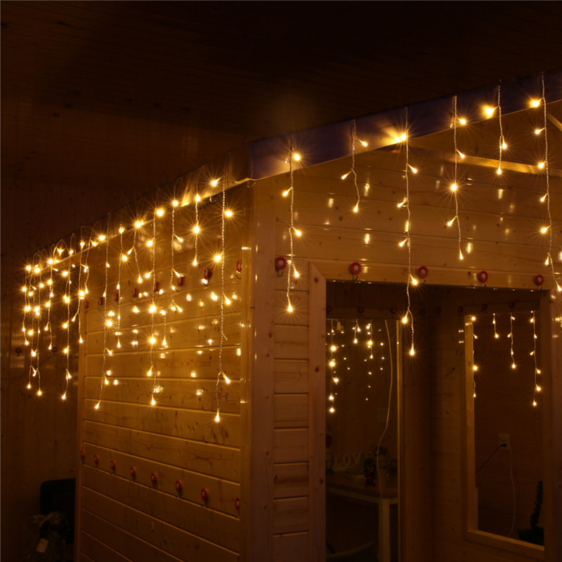 256 LED Icicle Curtain 6M X 1M 8 Modes Light String Wedding Party Home Garden Bedroom Outdoor Indoor Wall Decorations