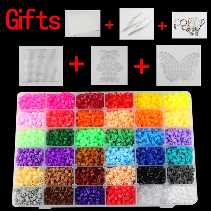 5mm hama perles 36 couleurs 12,000 pcs box set (1 big modèle + 5 fer papiers + 2 pince à épiler) fusible/perler perles bricolage jouets éducatifs artisanat
