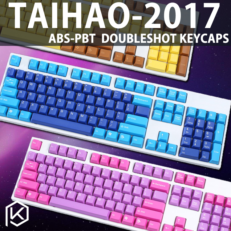 Taihao Abs Double Shot Keycaps For Diy Gaming Mechanical Keyboard Color Of Ocean Deep Blue White Yellow Red Orange Purple Pink