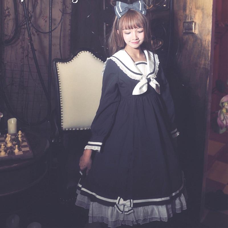 Preppy-Style-Girl-Cute-Lolita-Bow-Black-Ruffles-Long-Sleeve-Sailor-Navy-Collar-Women-Dresses-Autumn (2)