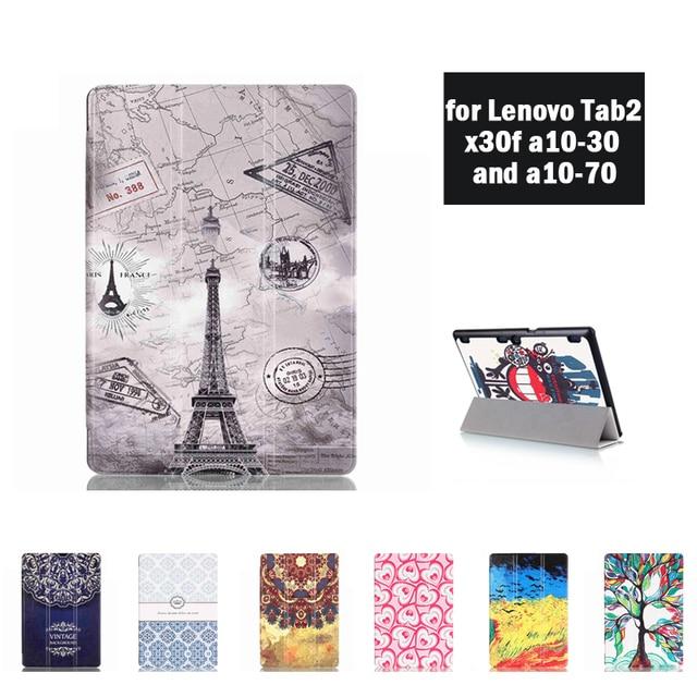 """Case tab2 capa de couro filp case para lenovo tab 2 x30f a10-70f a10-30 x30l 10 """"tab 3 10.1 negócios tb3-x70f/m + stylus + film + gift"""