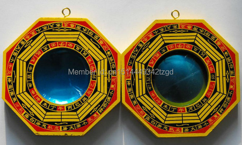 Chinois Feng shui Bois Bagua Ba guas Miroir convexe et Concave Pendentif Chanceux Décoration de La Maison pour La Famille Protection