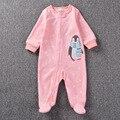 Lindo Bebé de Dibujos Animados Niña Ropa de Niño Recién Nacido Caliente Pijamas Mameluco Rosado de la Cremallera Verde Del Bebé del Mono de Los Niños Ropa Nueva Cousume