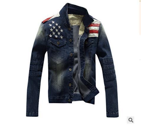 Nouveau Jaqueta Masculina marque vêtements hommes lavé Denim veste drapeau impression Jeans manteaux Denim simple boutonnage hauts Casaco J1454