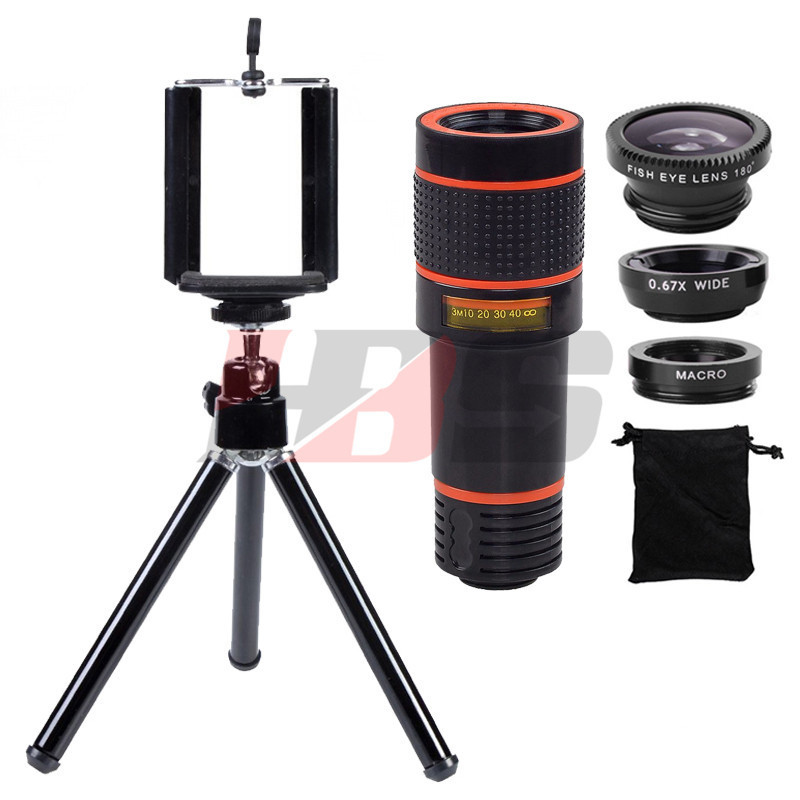 Phone Lens 12X Telephoto Zoom Lentes Telescope Tripod Holder Fisheye Wide Angle Macro Lenses Microscope For Huawei P7 P8 Lite P9
