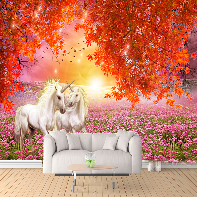 Custom Photo Wallpaper 3D Stereo White Horse Red Maple Murals Living Room TV Sofa Background Wall Painting Romantic Home Decor