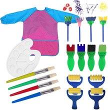 18 шт. Детские губки для рисования кисти инструменты ремесленные кисти наборы с палитра краски и водонепроницаемая накидка для творчества накидка для занятий искусством