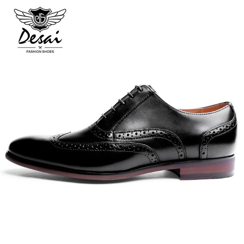 DESAI/Брендовые мужские туфли оксфорды из кожи с натуральным лицевым покрытием; Мужские модельные туфли в британском ретро стиле с перфорацие... - 6