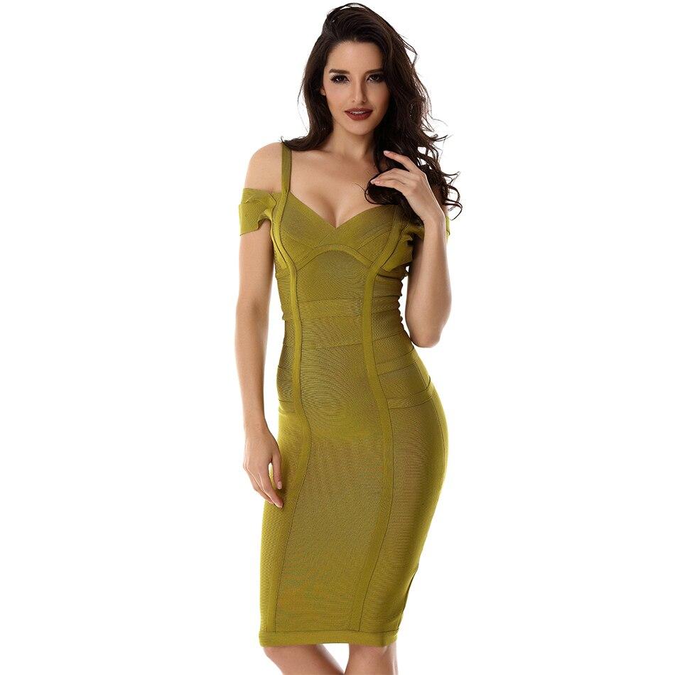 Summer Bodycon Bandage Dress Women Celebrity Night Party Spaghetti Strap Off Shoulder V-Neck Sexy CVestidos Clothing Dropshiping
