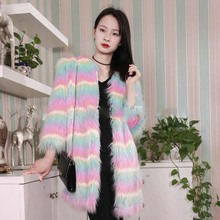 O-neck Colours Thick Faux Fur Coats Women 2018 Winter Warm Slim Fit And Jackets Ladies Plus Size coat 4XL