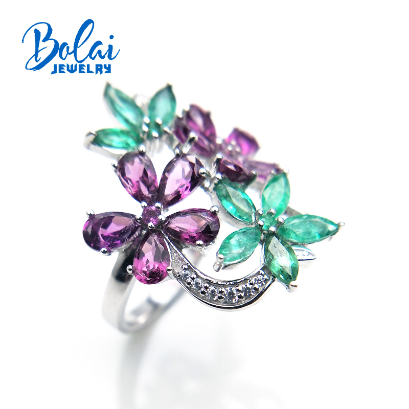 Bolaijewelry,petals and Leaf natural emerald or rhodolite Ring in 925 sterling silver fine jewelry for girl as gift with box bolaijewelry natural emerald pendant or necklace and ring and earring jewelry set 925 sterling silver for women anniversary gift