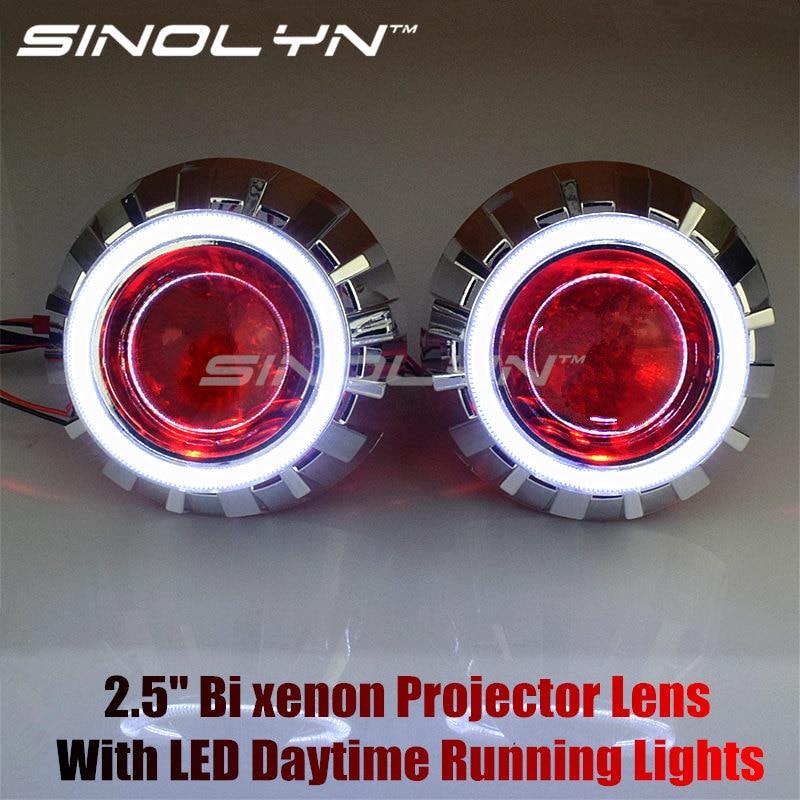 2 5 LED Angel Eyes Daytime Running Lights HID Bi xenon Lens Projector Headlight Kit Devil