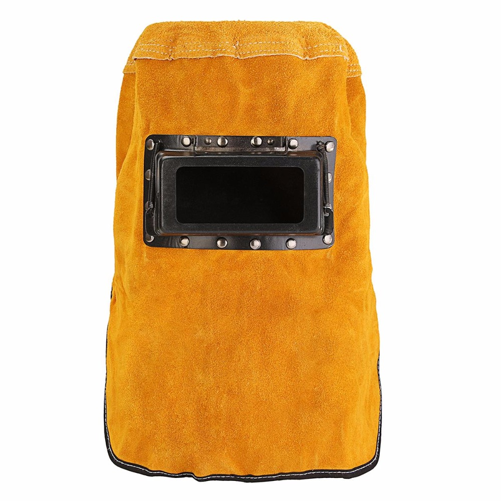 где купить Leather Hood Welding Helmet Mask Solar Auto Darkening Filter Lens Welder Safety Security Protection дешево