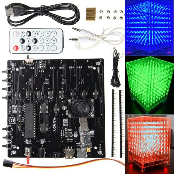 DIY 3D Light Kit 8x8x8 RGB LED MP3 Music Spectrum Electronic Set цена и фото