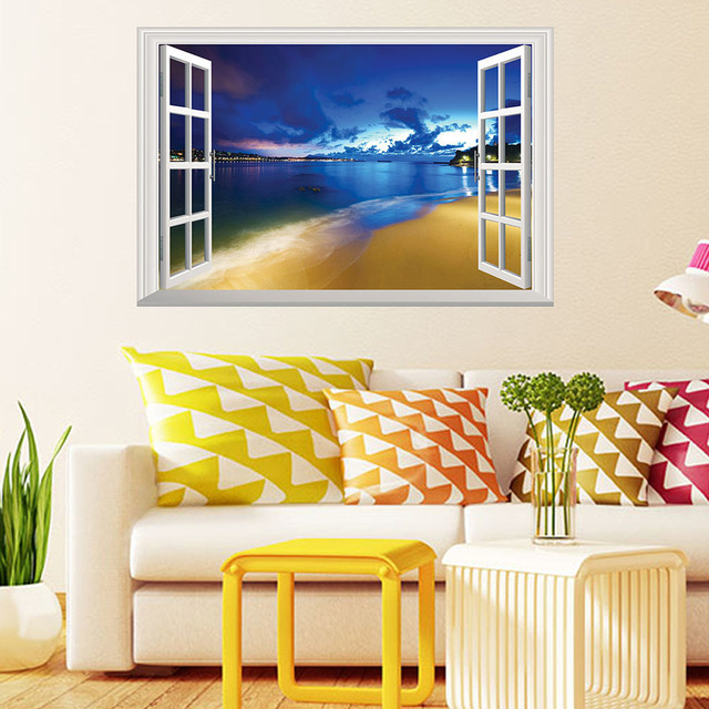 4 Types Cool 3D Window Landscape Wall Sticker Self adhesive PVC ...