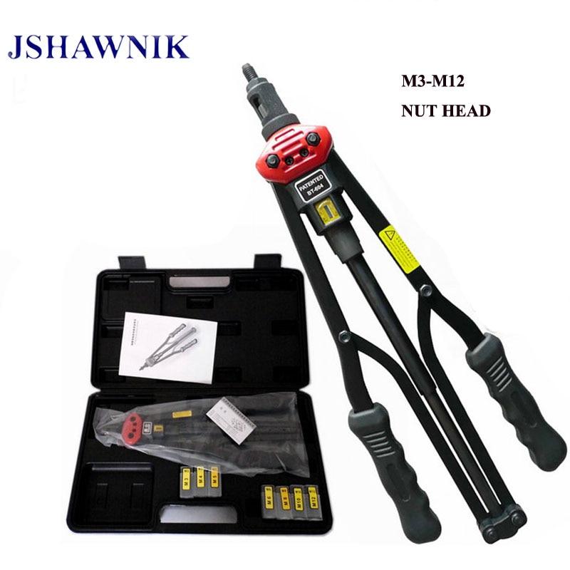 цена на 17 M3-M12 BT604 automatically exit Hand Riveter Rivet Nut Gun Riveting Tools With plastic box